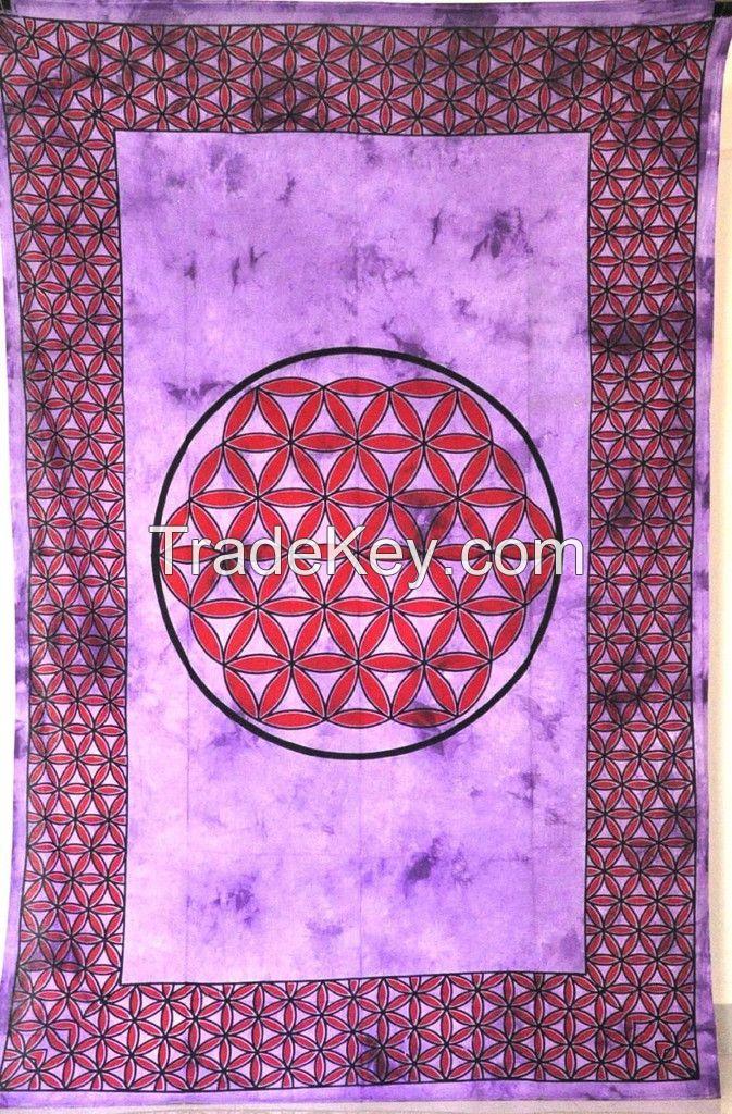 Cotton Celtic Pink Red Tye Dye Knot Print Tapestry