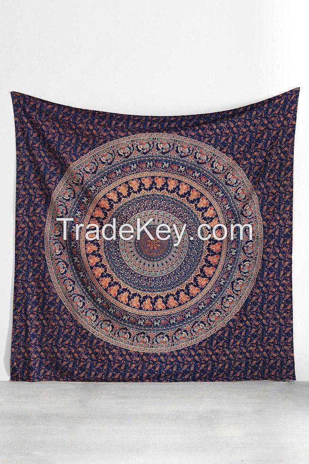 Indian Tapestry Wall Hanging Hippie Elephant Mandala Bedspread Ethnic Throw Art