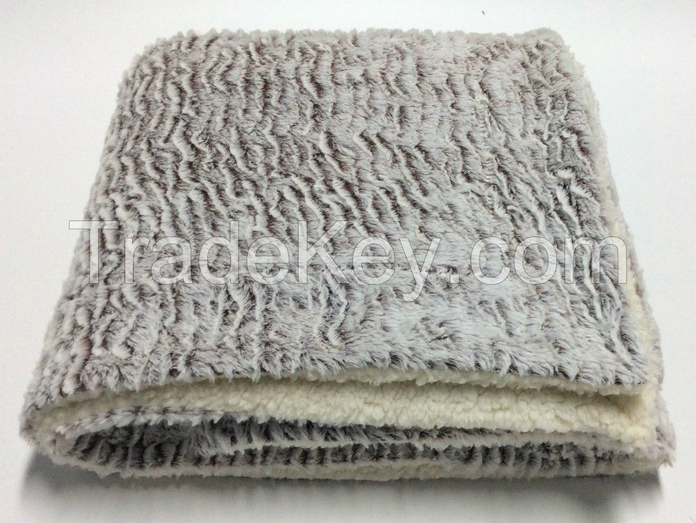 faux fur with berber fleece double layers throw