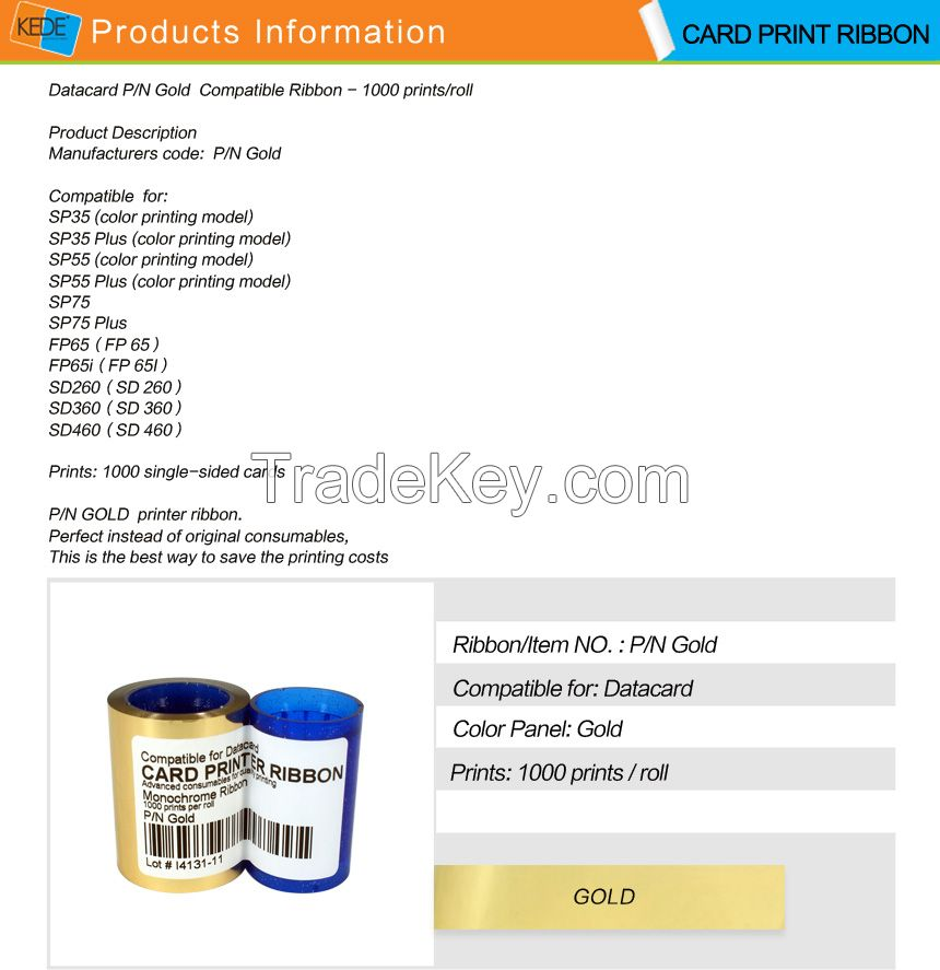For Datacard SP25 sp30 sp35 sp55 sp75 cp40 cp60 cp80 gold compatible card printer ribbon