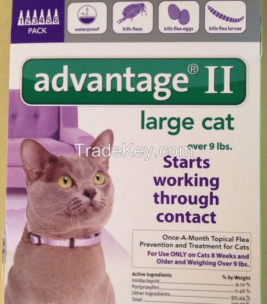 Advantage II for pets, ticks and fleas control for Large Cat 9lbs