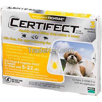 Certificats for pets, ticks and fleas control for Small  Dogs
