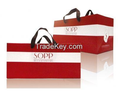 Offset Printing White Kraft Paper Bag with Webbing Handle