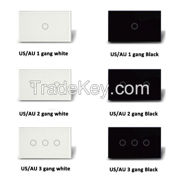US/AU Standard 1 gang 1 way Remote control light touch panel switch single live line wiring