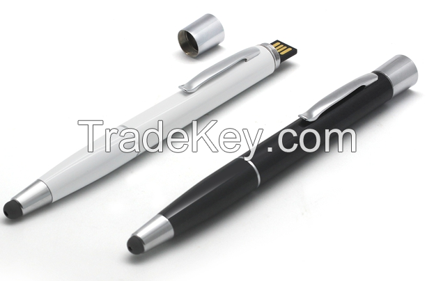3 in 1: 4GB-32GB flash memory, 1000mAh power bank with fully functioning pen + touch screen capability.