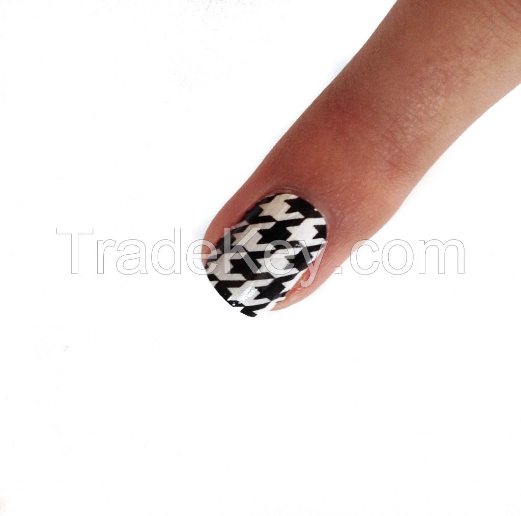 Black and White Houndstooth Nail Polish Strips