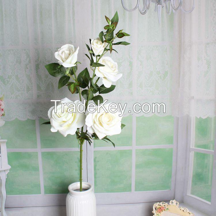 single stem silk real touch rose flower