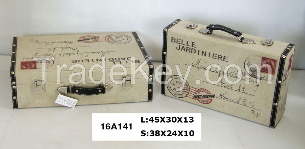burlap suitcase, storage box, gift bix, travel case, suitcase. decoration box