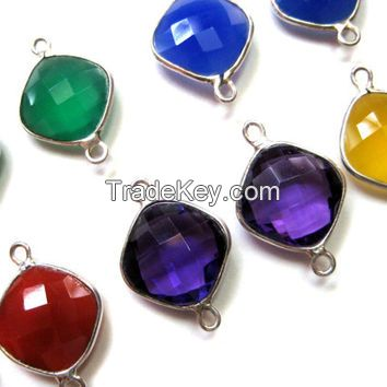 Silver Gemstone Connectors and Drops
