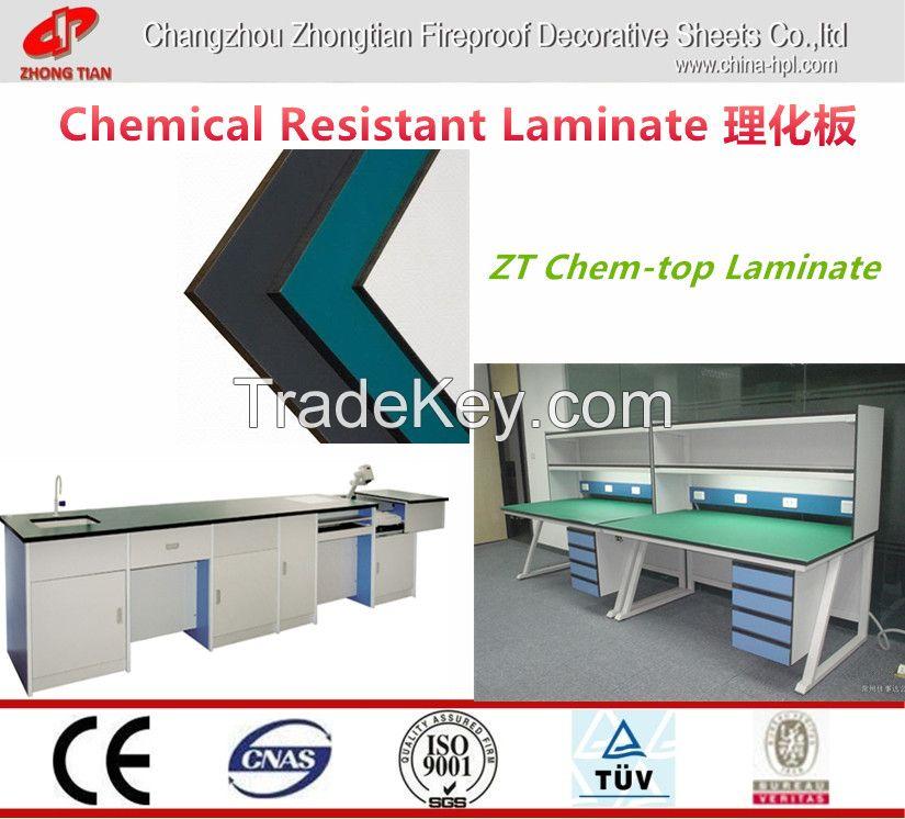 Chem-top Laminate ;chemical resistant laminate for Lab funifure/High pressure laminate (HPL)
