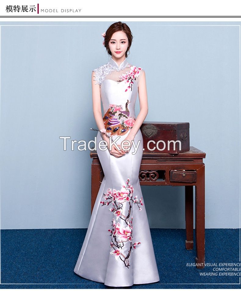 2016 new Chinese cheongsam embroidered retro fishtail dress party shou