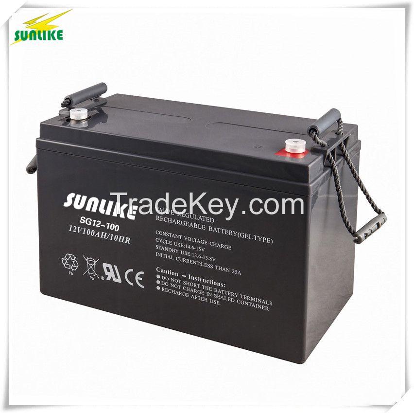 12V100ah Rechargeable Solar Power Gel Solar System UPS Battery