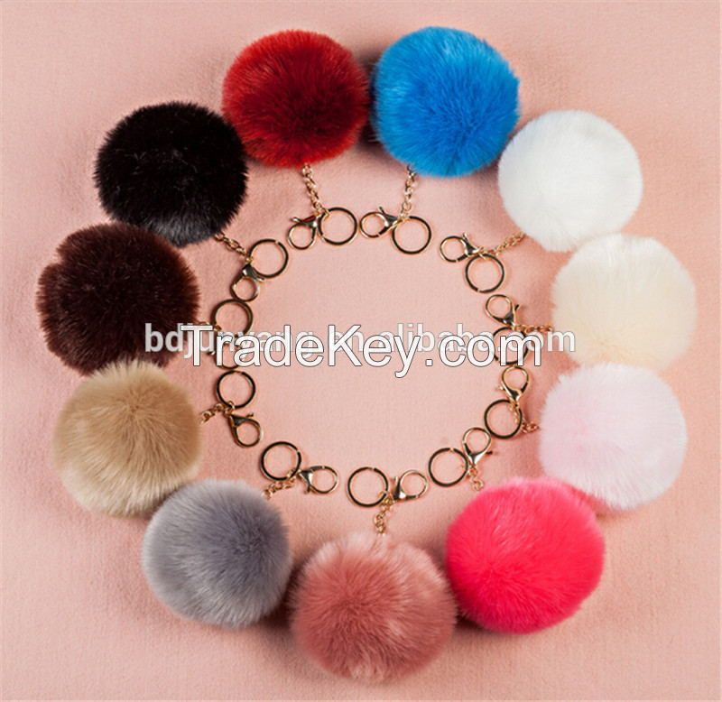 Factory wholesale faux fur pom pom keychain fake fur ball pendant