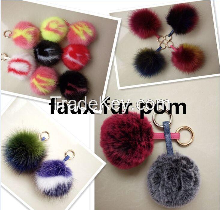 New style faux fur pom pom pendant fur ball bag charm car keychain mobile phone