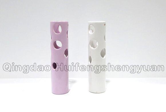 hollowed-out ceramic vase