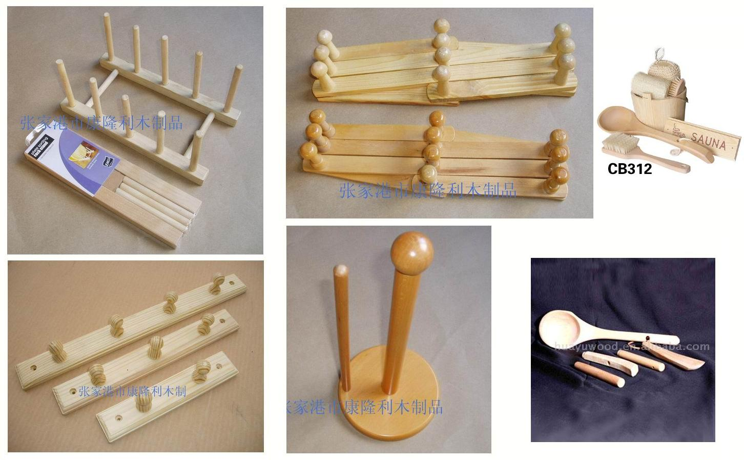 wooden parts: clothes racks, furniture handles and knobs, combs