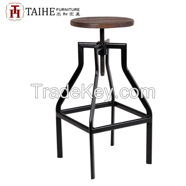 Antique metal industrial stool