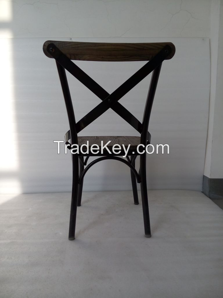 No folding metal chair for home furniture design with wooden seat
