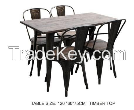 dining room furniture Square metal wooden table