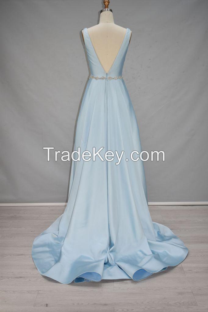 2017 America hot style sleeveless beading line evening dress