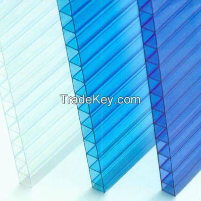 SGS certification Clear Polycarbonate double-wall Plastic hollow sheet in Guangzhou