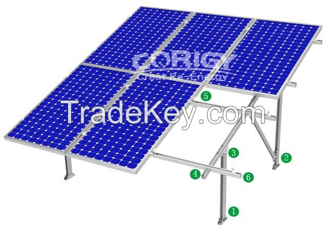 Dual-axis solar tracking system, roof mounting system