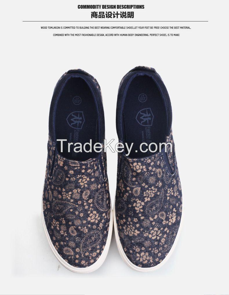 LEYO 2016 men casual shoes slip-on sneaker high fashion floral print