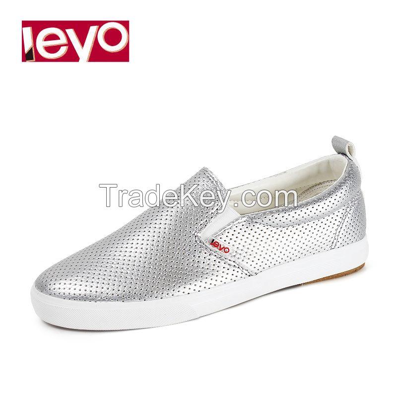 LEYO 2016 woman casual shoes silver white black pu slip-on sneaker