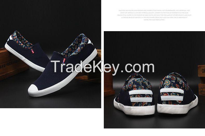 LEYO 2016 spring man shoes black, navycanvas casual shoes slip-on sneaker