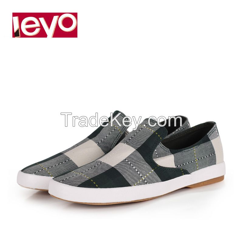 LEYO summer man shoes navy,green checked canvas casual shoes classic slip-on sneaker