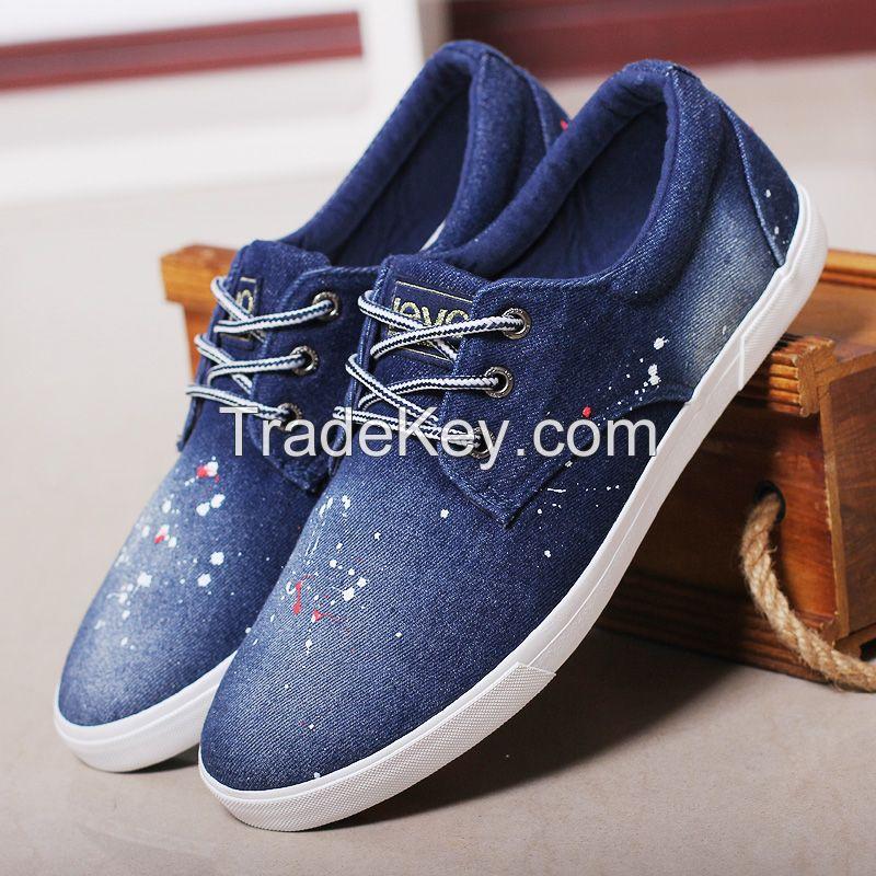 LEYO summer man shoes navy, black, light blue denim casual shoes classic slip-on sneaker
