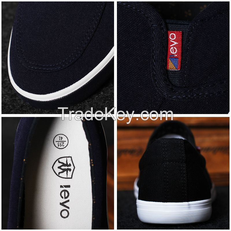 LEYO summer man shoes navy, black canvas casual shoes classic slip-on sneaker