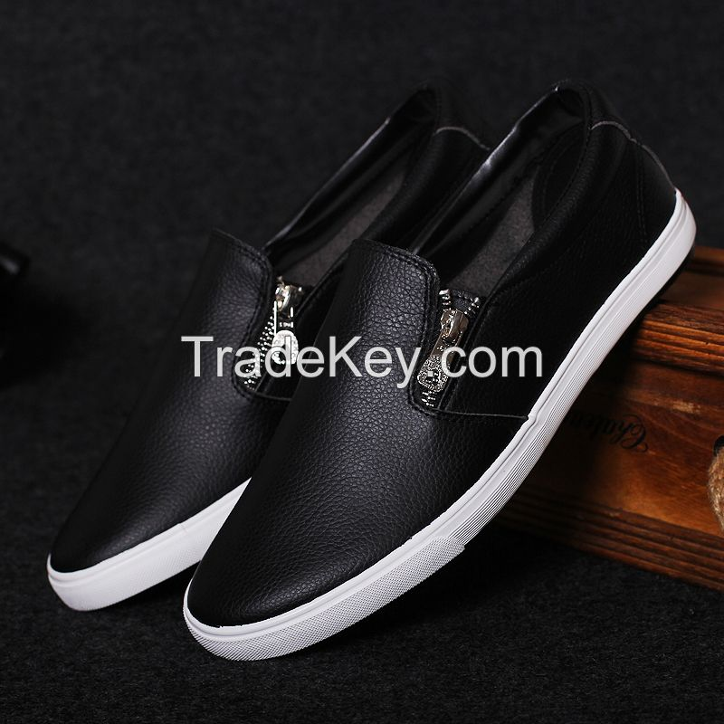 LEYO summer man shoes shiny fake leather with zipper casual shoes fashion slip-on sneaker