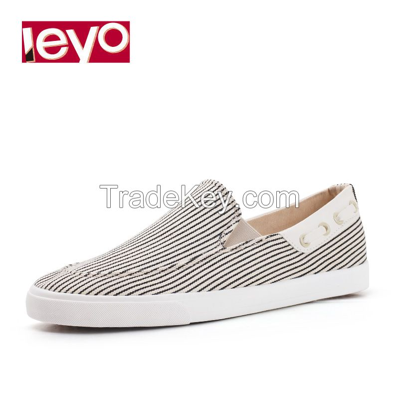 LEYO summer man shoes stripe moc casual shoes fashion slip-on sneaker