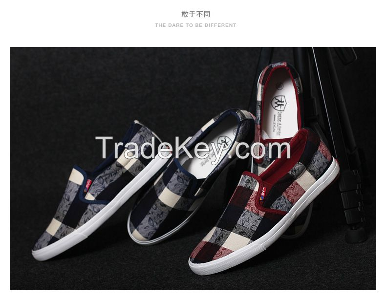 LEYO summer man shoes checked box textile casual shoes fashion slip-on sneaker