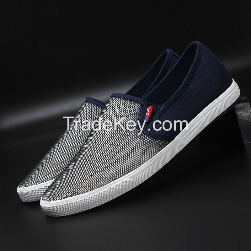 LEYO summer man shoes mesh with canvas casual shoes fashion slip-on sneaker