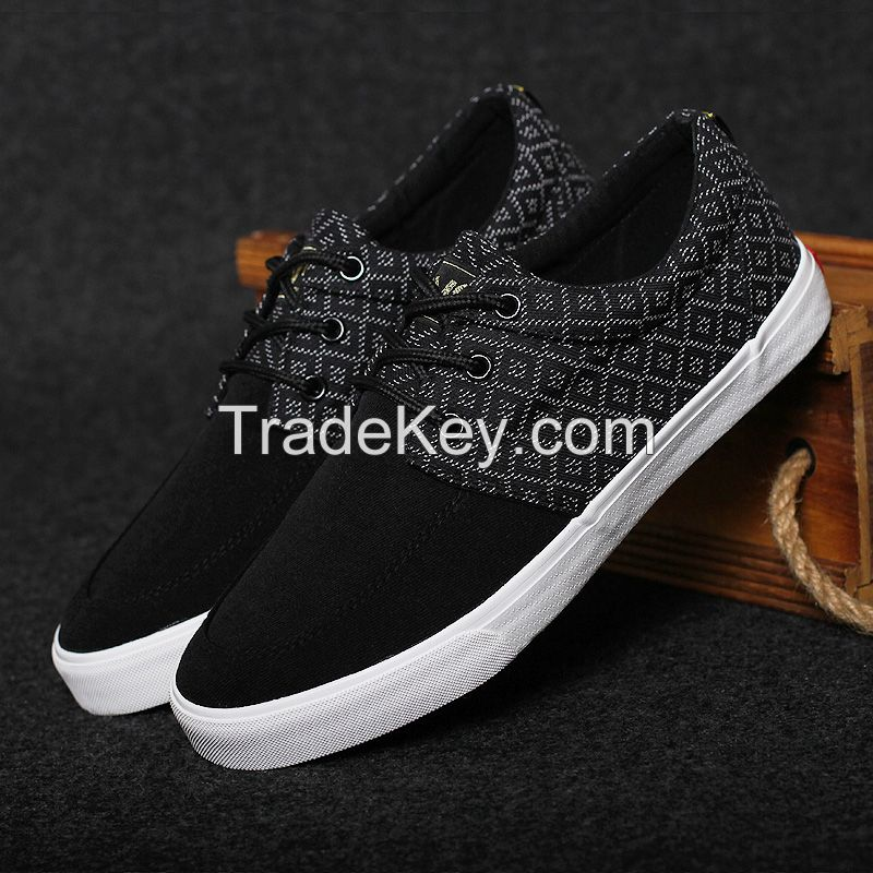 LEYO summer man shoes black or navy canvas with textile casual shoes fashion lace-up sneaker