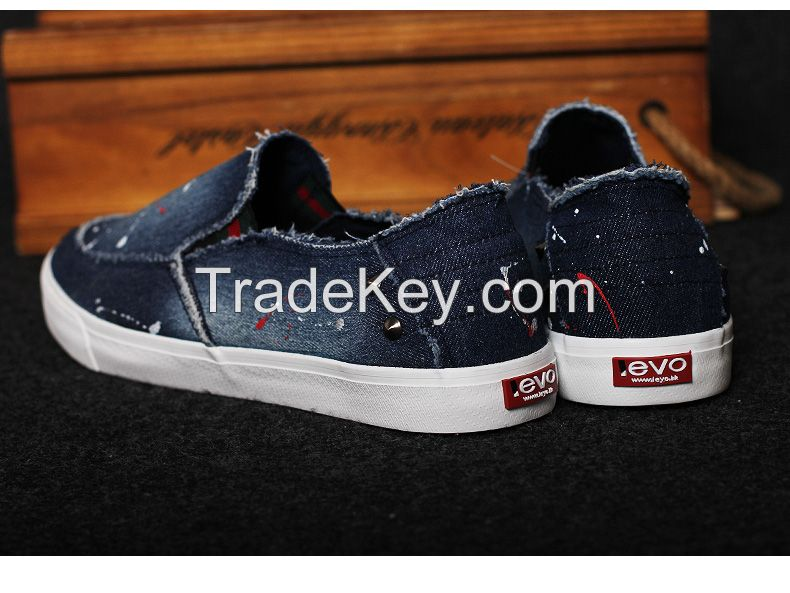 LEYO summer man shoes denim with rivets casual shoes fashion slip-on sneaker