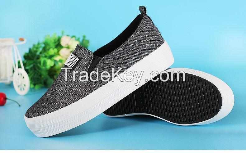 LEYO 2016 summer woman casual shoes shiny twill platform slip-on sneaker