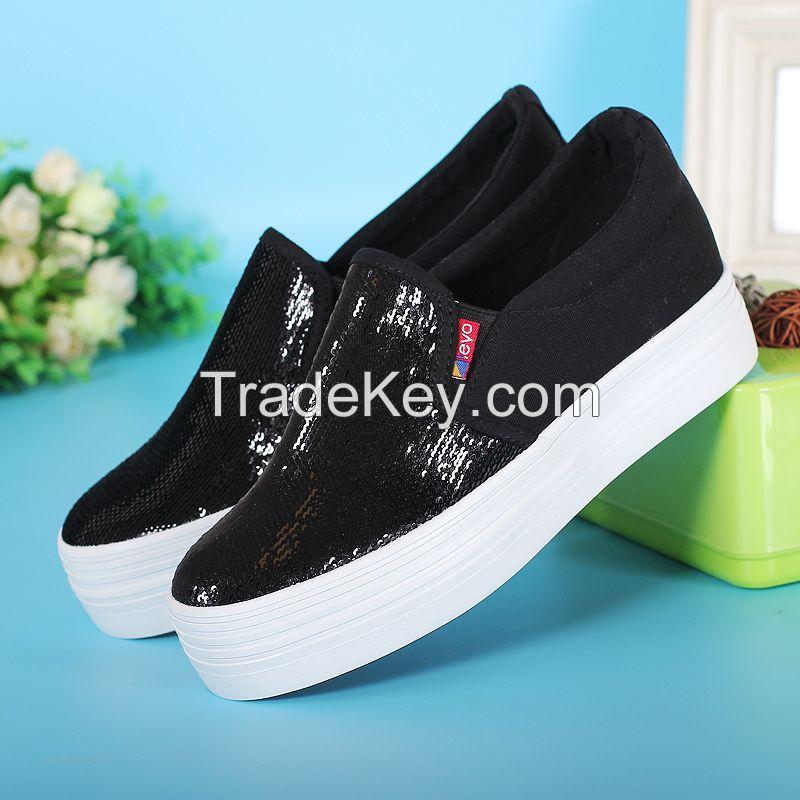LEYO 2016 summer woman casual shoes shiny canvas platform slip-on sneaker