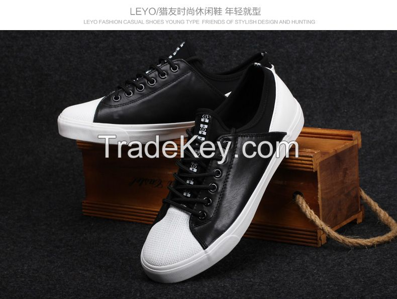 LEYO summer man shoes pu with elastic fabric casual shoes fashion lace-up sneaker
