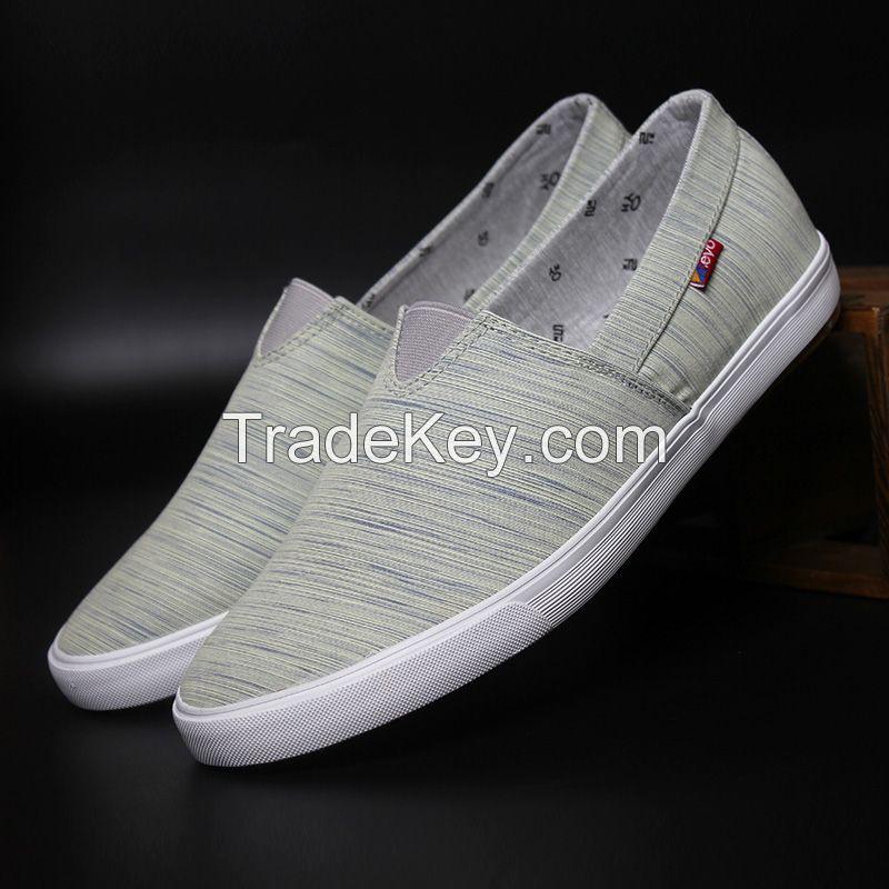 LEYO summer man shoes stripe  casual shoes fashion slip-on sneaker