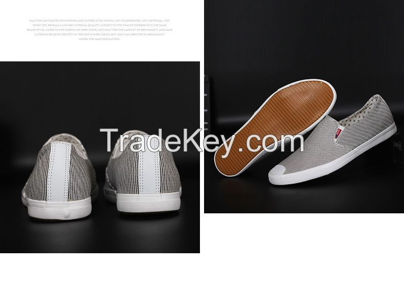 LEYO summer man shoes stripe fabric casual shoes fashion slip-on sneaker