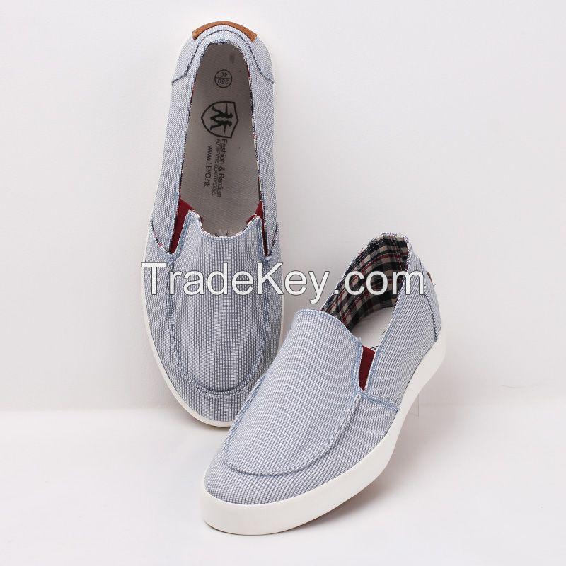 LEYO summer man shoes stripe textile casual shoes fashion slip-on sneaker