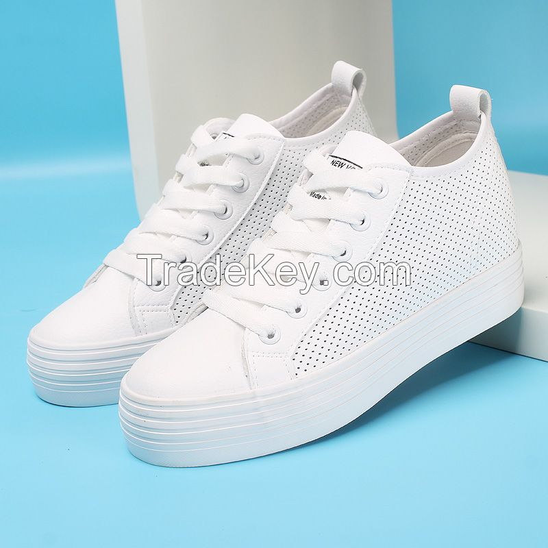 LEYO 2016 SUMMER WOMAN CASUAL SHOES PUNCH PU LACE-UP SNEAKER