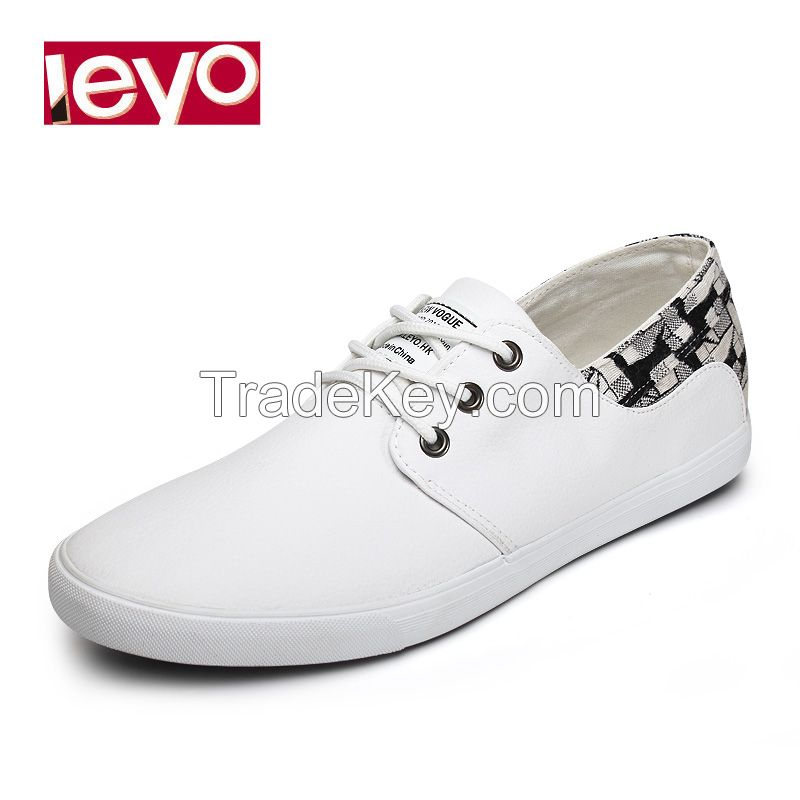 LEYO summer man shoes black and white Pu casual shoes lace-up sneaker