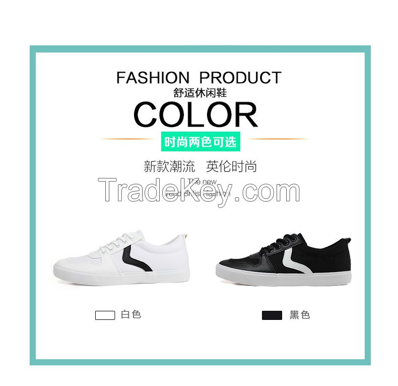 LEYO summer man shoes black and white Canvas Pu casual shoes lace-up sneaker