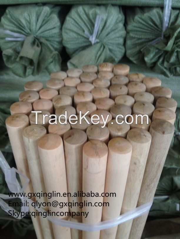 Italian threaded natural wooden broom handle