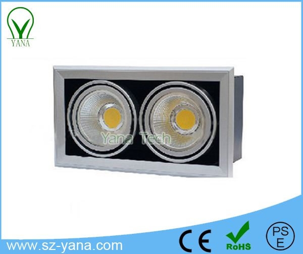 Square One head, double head, three head 20W 30W 30W+30W COB Grille lamps / ceiling recessed downlight