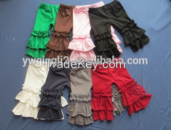 Hot sale boutique ruffle pants girls icing ruffle leggings baby icing